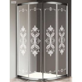 Душевой уголок Cezares Giubileo R-2 90х90 профиль хром, стекло прозрачное с матовым узором