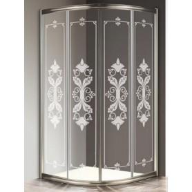 Душевой уголок Cezares Giubileo R-2 80х80 профиль бронза, стекло прозрачное с матовым узором
