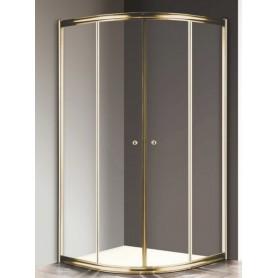 Душевой уголок Cezares Giubileo R-2 100х100 профиль золото, стекло прозрачное