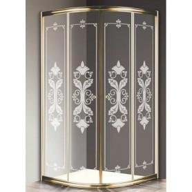 Душевой уголок Cezares Giubileo R-2 100х100 профиль золото, стекло прозрачное с матовым узором