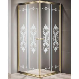 Душевой уголок Cezares Giubileo A-2 80х80 профиль золото, стекло прозрачное с матовым узором