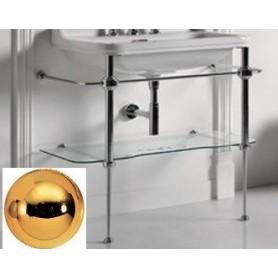 Структура со стеклянной полкой в цвете золото Kerasan Waldorf 9196K2