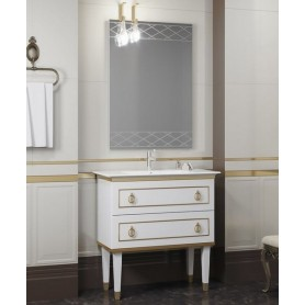 Мебель для ванной Смайл Порто 80 белый / золото ➦ Vanna-retro.ru