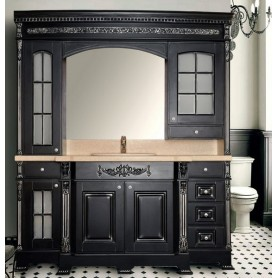 Мебель для ванной Атолл Людовик 208х55 см цвет черный / патина серебро ➦
