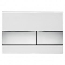 Кнопка смыва TECE Square 9240802 белое стекло, кнопка хром ➦