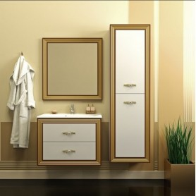 Мебель для ванной Опадирис Карат 80 цвет белый с золотом