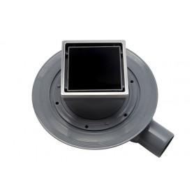 Трап водосток Pestan Confluo Standard Dry 1 Black Glass 100*100 Black Glass черное стекло с рамкой сталь 13000101
