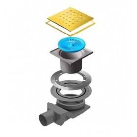 Трап водосток Pestan Confluo Standard Drops 4 Gold 150*150 мм