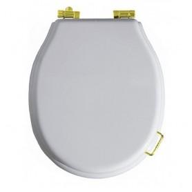 Сидение с микролифтом для унитаза Simas Lante LA 007G белое, петли золото ➦