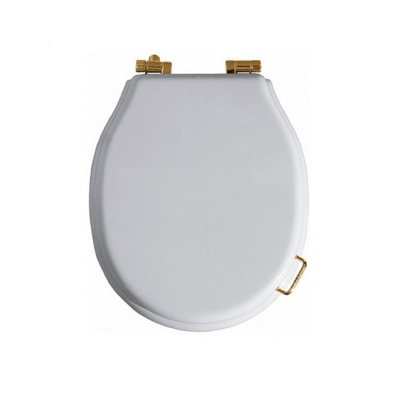 Сидение с микролифтом для унитаза Simas Lante LA 007Br белое, петли бронза ➦