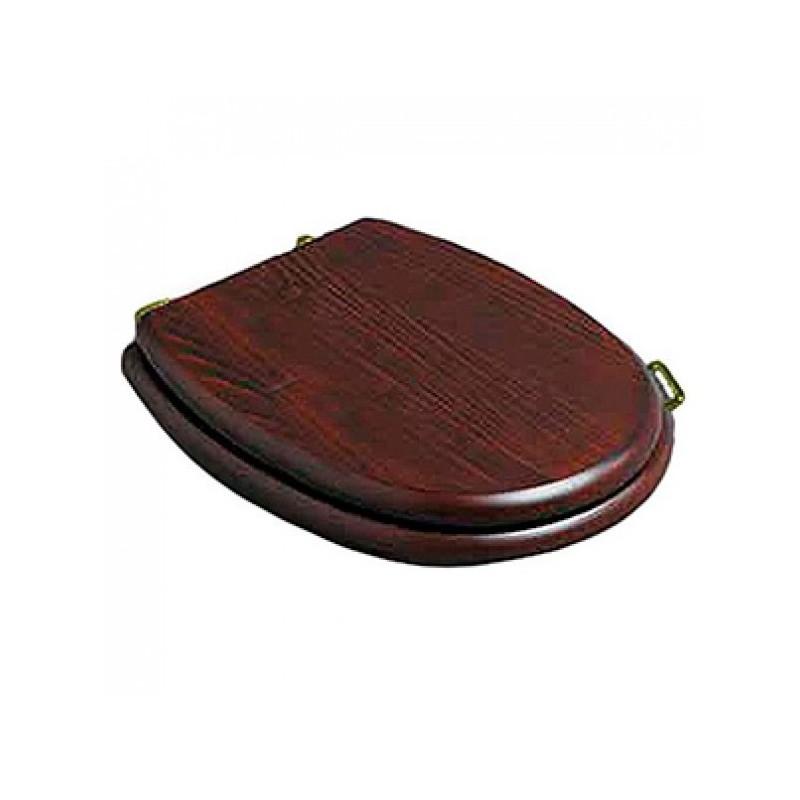 Деревянное сидение с микролифтом для унитаза Simas Lante LA 009G орех, петли золото