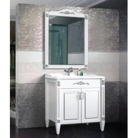 Мебель для ванной Белюкс Империя 85 белый матовый / патина серебро ➦ Vanna-retro.ru
