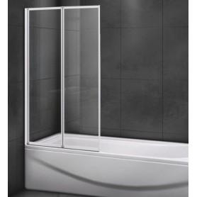 Шторка на ванну Cezares RELAX-V-2-80/140 профиль белый стекло матовое