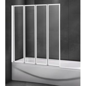 Шторка на ванну Cezares RELAX-V-4-80/140 профиль белый стекло прозрачное