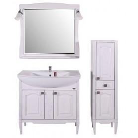 Мебель для ванной АСБ Модена 85 (белый - патина серебро)