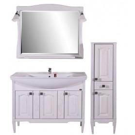 Мебель для ванной АСБ Модена 105 (белый - патина серебро)